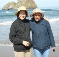 Alicia and Marcia in Straw Hats and Coats