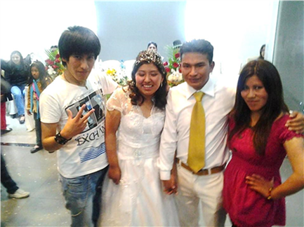 Ani and her brother with the bride and groom