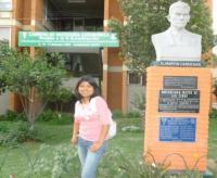 Gaby Chambi Perca in front of the School of Agriculture, University of San Simón, Cochabamba