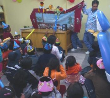After-care party puppet show