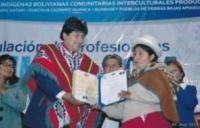 President Evo Morales Presents Lourdes Quenta Perca With Her Title