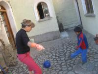 Soccer in the courtyard at 8,000 feet